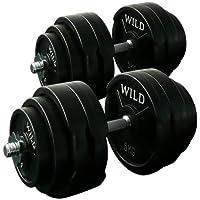 [WILD FIT ワイルドフィット] ダンベルセット 黒ラバー60kg