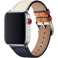 WFEAGL コンパチブル Apple Watch バンド,は本革レザーを使い、iWatch Series 6/5/4/3/2/1, SE、Sport、Edition向けのバンド交換ストラップです コンパチブル アップルウォッチ バンド (42mm 44mm, ダークブルーのアイボリー バンド+シルバー 四角い バックル)
