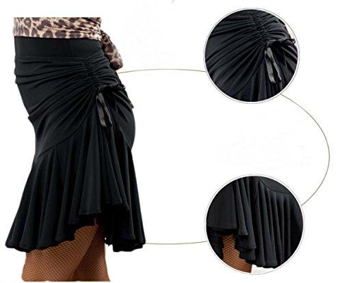 Micopuella 社交ダンス スカート ドレス 衣装 ラテン ダンス インナー パンツ 付き 練習 レッスン ブラック レディース ストレッチ 動きやすい (L サイズ)
