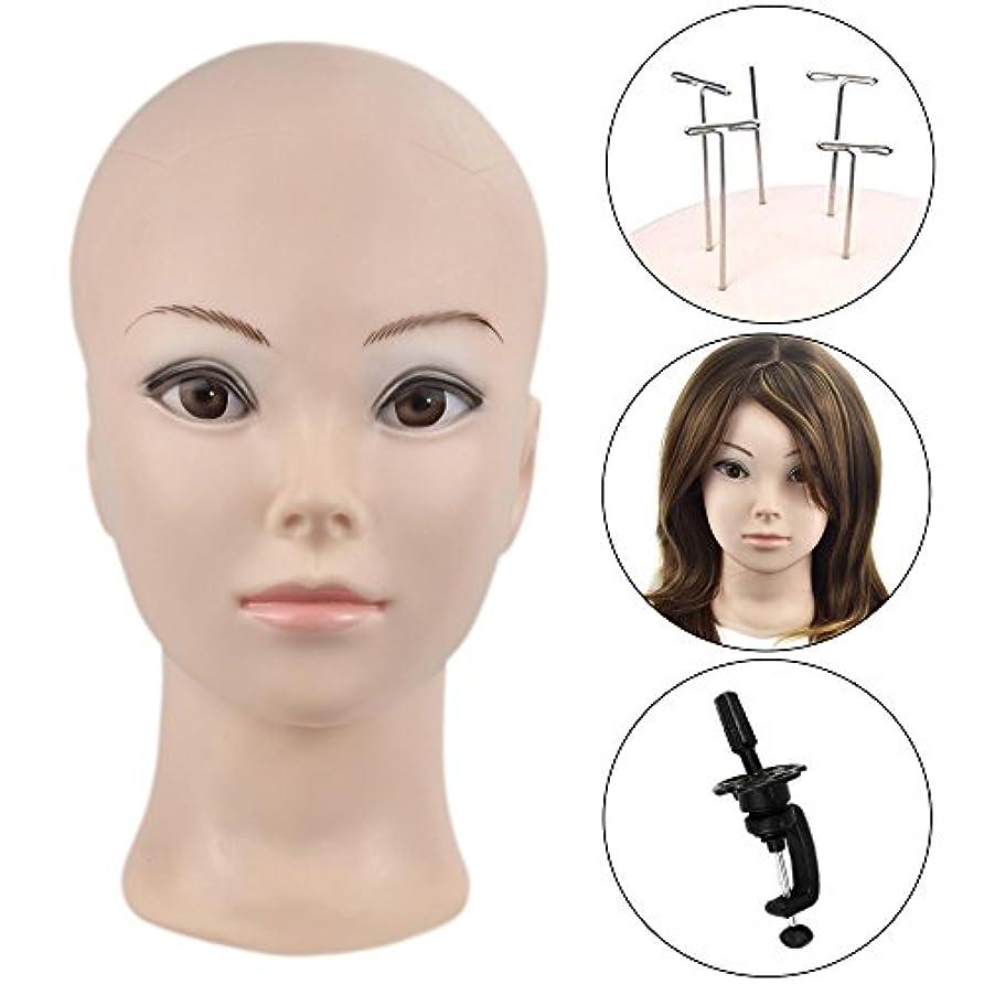 和免疫恐ろしいですマネキン ヘッド トルソー 頭 カット練習 頭部 女性 あたま カット用 ウィッグマネキン ウィッグスタンド 【固定用クランプ セット】