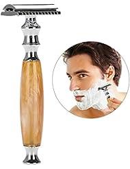 メンズシェービング、両面安全剃刀、人間工学に基づいたハンドル、ステンレス製のひげ飾りテンプレート