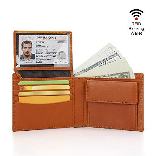 財布 メンズ 二つ折り ウォレット 本革製 ボックス型小銭入れ 大容量 RFID&磁気スキミング防止 カード6枚/お札入れ 高級感あり 手触り良い 短サイフ メンズ クリスマスプレゼント用も最適 (ブラウン)