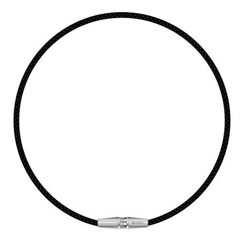 【Amazon.co.jp限定】 ファイテン(phiten) ネックレス RAKUWA ネックX50 AG ローレット シルバー 50cm アクアゴールド×アクアチタンX50 含浸スペシャルモデル ブラック/ブラック