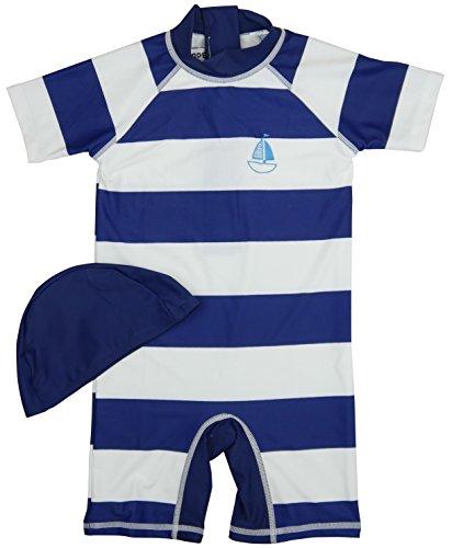 【Babystity】子供ベビーラッシュガードタイプネイビー&ホワイトボーダー水着(110cm)KR-SWI102