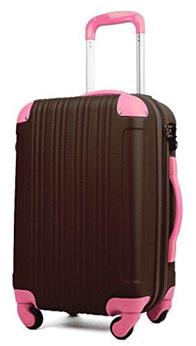 スーツケース (機内持込サイズ(1~3泊/33(拡張時40)L), チョコ/ピンク)