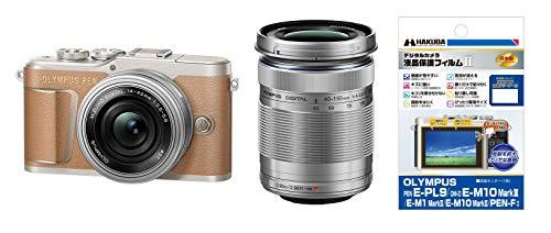 OLYMPUS ミラーレス一眼 PEN E-PL9 ダブルズームキット ブラウン + HAKUBA 専用液晶保護フィルムセット