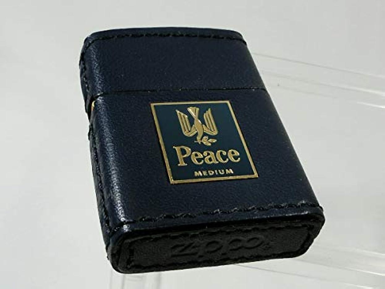 直立寄付動機付けるZIPPO (ジッポー) Peace ピース ミディアム 新デザインキャンペーン 革巻き 2002年製 限定2000個