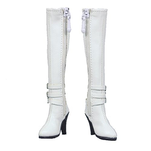 SunniMix 1/6スケール ロングブーツ ハイヒール 12インチ女性用 ファッション フィギュアボディーシューズ 女の子 贈り物 全3色   - 白