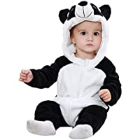 ALLAIBB Unisex Baby Halloween Costume Cosplay Animal Warm Flannel Outerwear Romper Size 6-12M (Panda)