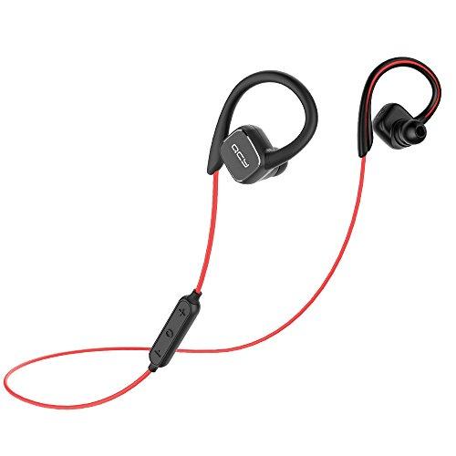 QCY Bluetooth イヤホン QY13 ワイヤレス イヤホン マグネティック ヘッドホン 高音質 スポーツ 耳かけ マイク付き ノイズキャンセリング ブルートゥース イヤホン【メーカー直販/一年保証】 (黒赤)