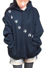 福猫シリーズ ネコの足跡パーカー 肉球パーカー ユニセックス プルオーバーパーカー Lサイズ ブラック