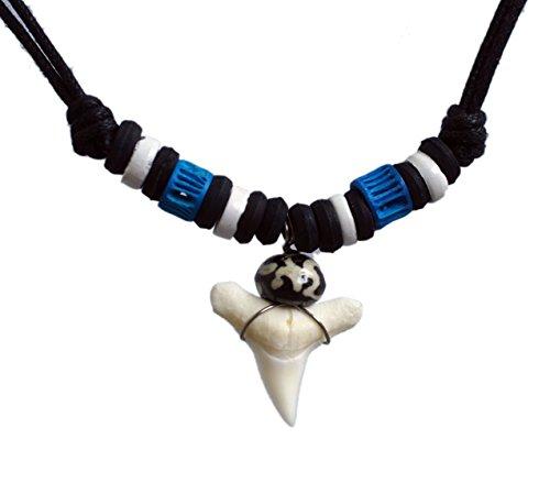 [해외]상어 이빨 목걸이 비치 쥬얼리 하와이안 스타일 파란색 조절 진짜 치아 용감한 집에서 만드는 남성 소년 십대 shkt blue II wht b/Shark`s teeth necklace Beach jewelry Hawaiian style blue adjustable genuine teeth brave handmade male boy tee...