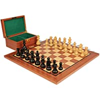 German Knight Stauntonチェスセットin Ebonized Boxwood & Boxwood withマホガニーボード&ボックス – 2.75