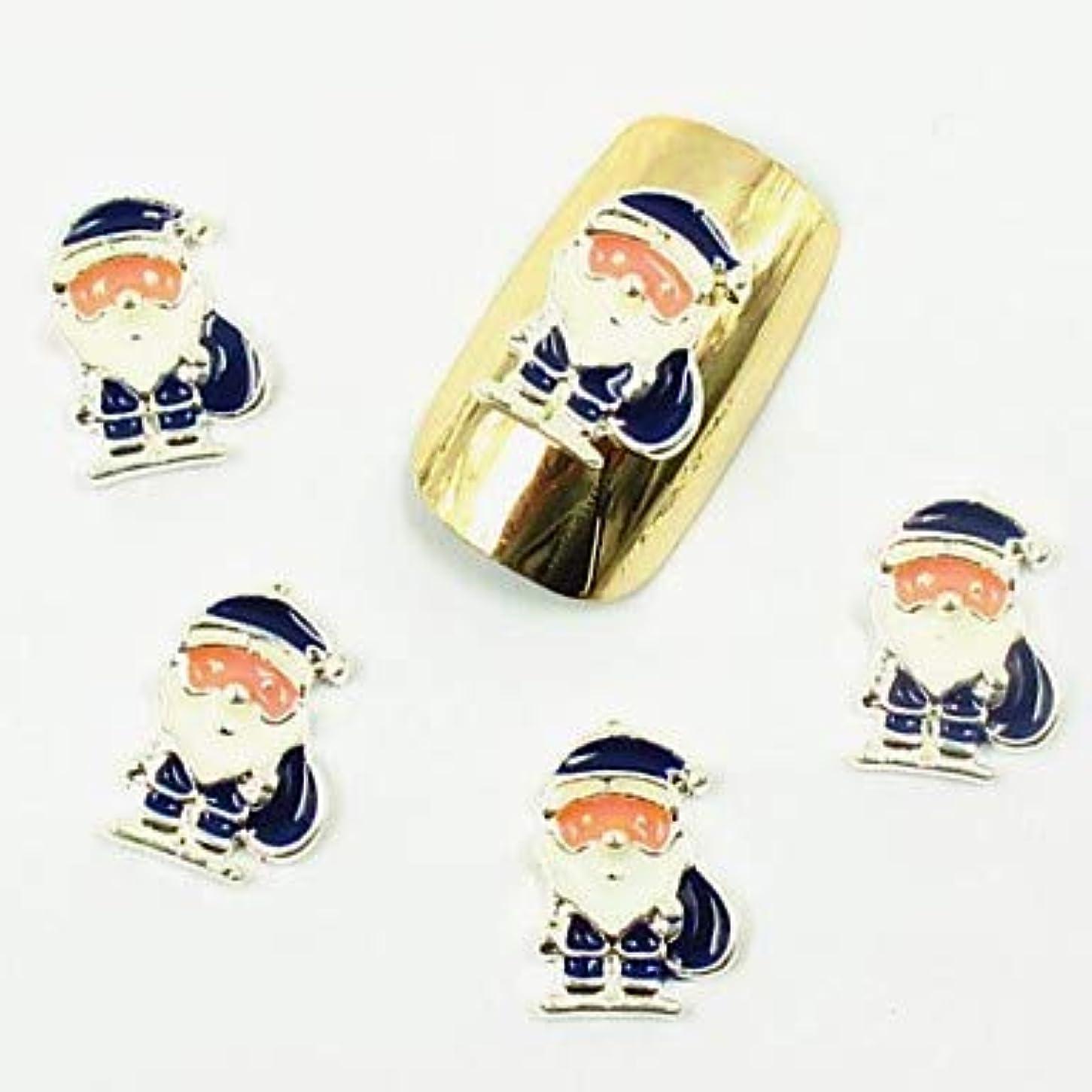 50ピース3dブルーサンタクロース白ひげクリスマスネイルデザインのための偽アクリルネイルのヒントネイルアートデコレーション