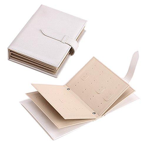 (ユニー) UNEEI 手帳式 ピアス 収納ケース ブック型 アルバム ジュエリー ポーチ イヤリング 大容量 トラベル 携帯 持ち運びも便利 コレクション ホワイト JE0001-WH