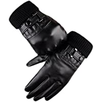 タッチスクリーン手袋レザーファッション防風暖かいベルベットDriving Iphone用手袋men-black