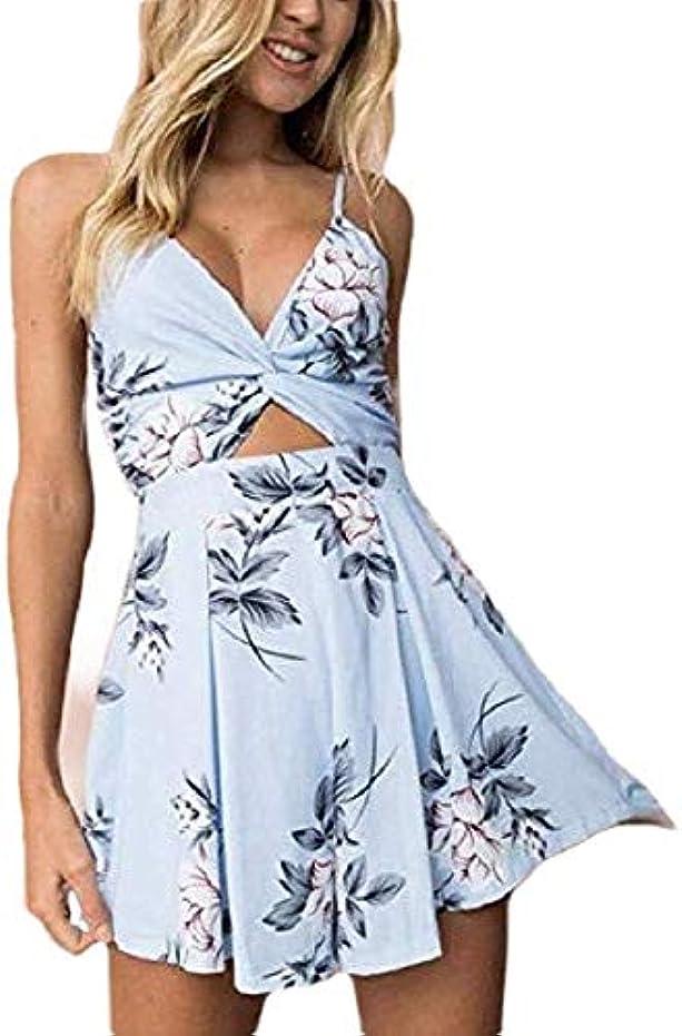 交換不測の事態崇拝しますBowenfaU Women Jumpsuits Back Floral Rompers Spaghetti Strap Short Open