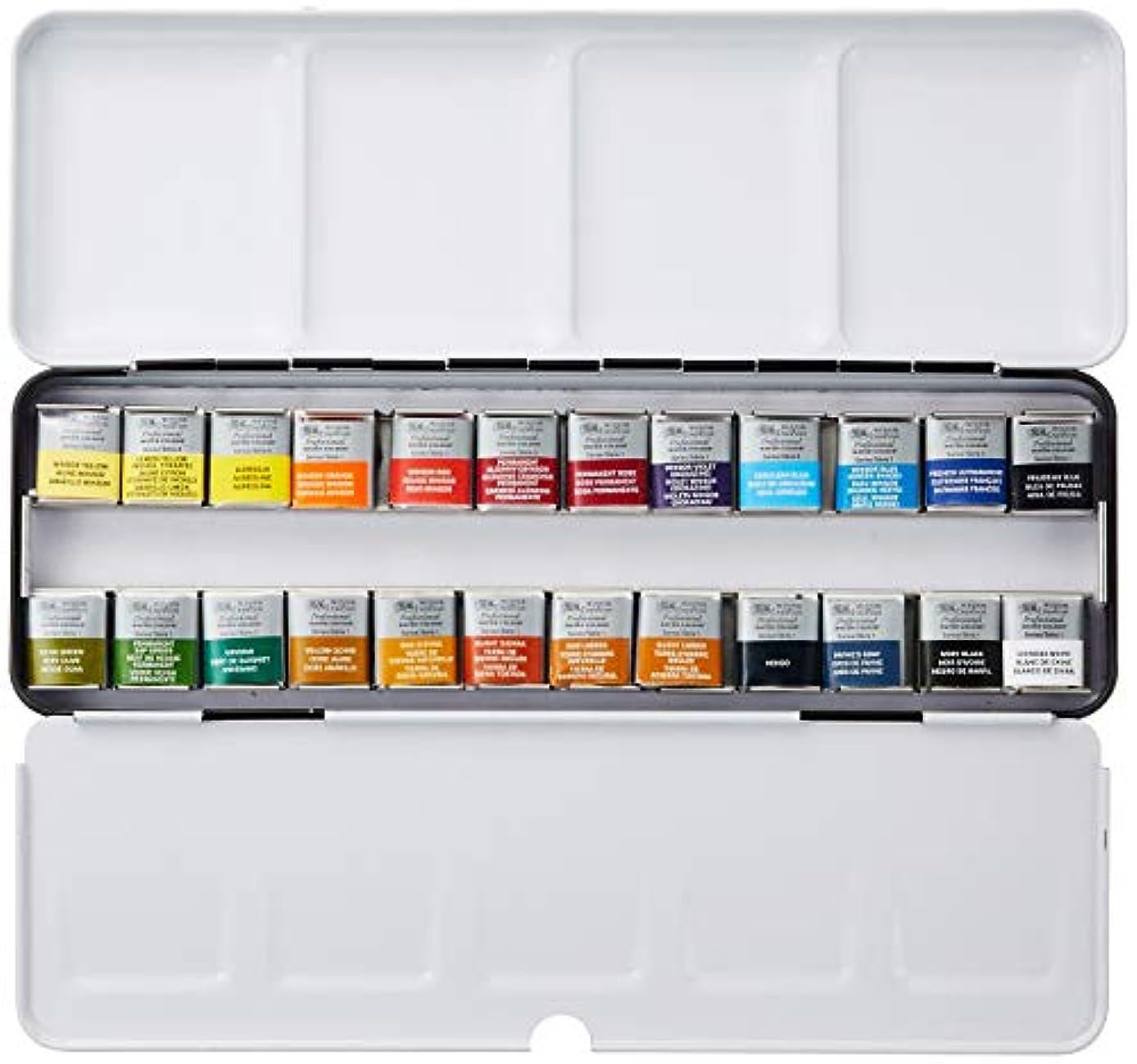 伝統的シリンダーエジプトウィンザー&ニュートン 水彩絵具 ウィンザー&ニュートン プロフェッショナル ウォーターカラー  24色セット ライトウェイト メタルボックスセット ハーフパン