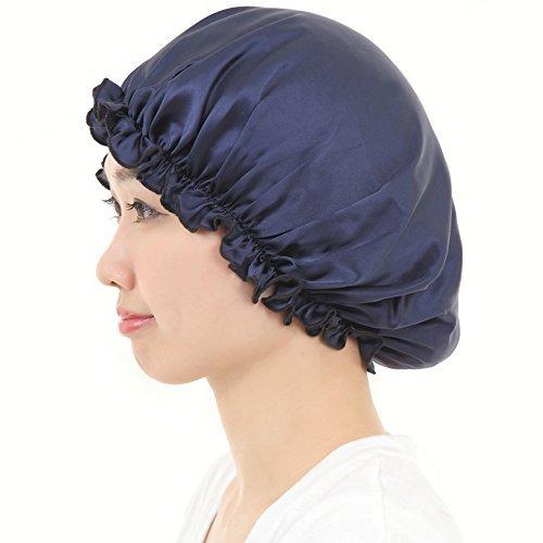 AQshop ロングヘア用 シルク 100% ナイトキャップ つや髪 保湿 レディース LG (ロングヘア用, ネイビー)