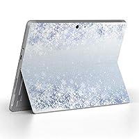 Surface go 専用スキンシール サーフェス go ノートブック ノートパソコン カバー ケース フィルム ステッカー アクセサリー 保護 雪 結晶 水色 012826