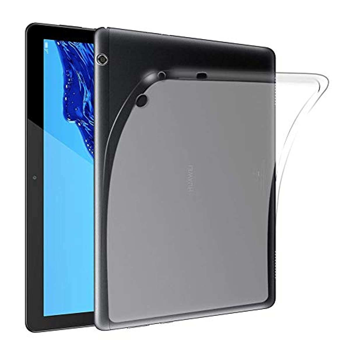 広い北ポゴスティックジャンプ【PCATEC】 Huawei MediaPad T5 10 ケース クリア 透明 TPU素材 保護カバー新型 Huawei T5 10 専用 背面ケース 超軽量 極薄落下防止
