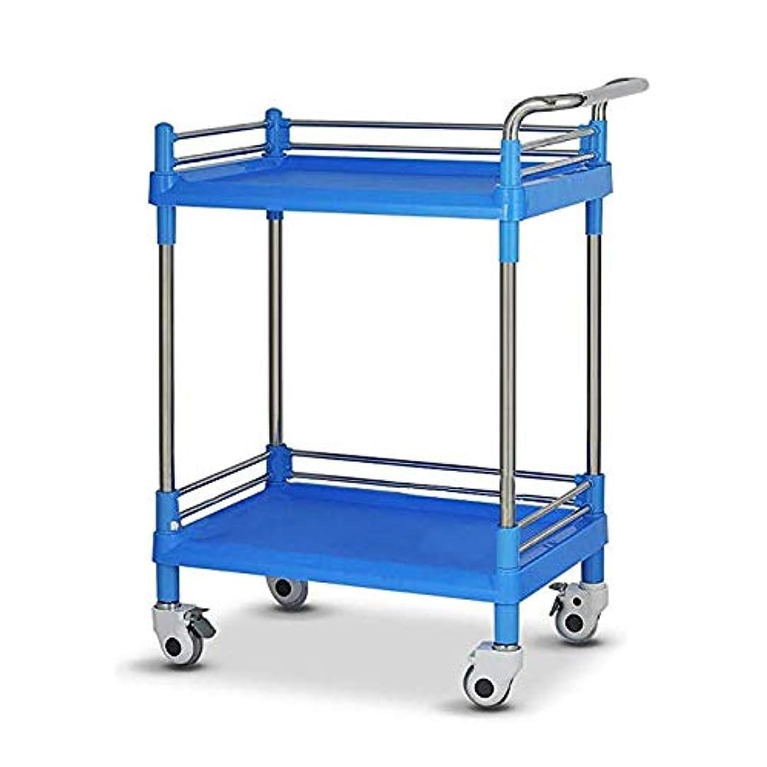 レンズ服を洗うリベラル車輪が付いている医学のトロリー、2層の美容院のカート、ABS理髪カート、理髪師の処置の棚の構造のカート,ブルー