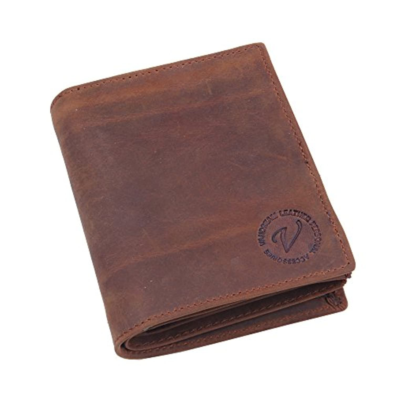Eldori 二つ折り 財布 本革 大容量 メンズ ボックス型小銭入れ 隠しポケット付き 二つ折り財布 Men Leather Wallets Multi Functional Leather Coin Purse Card...