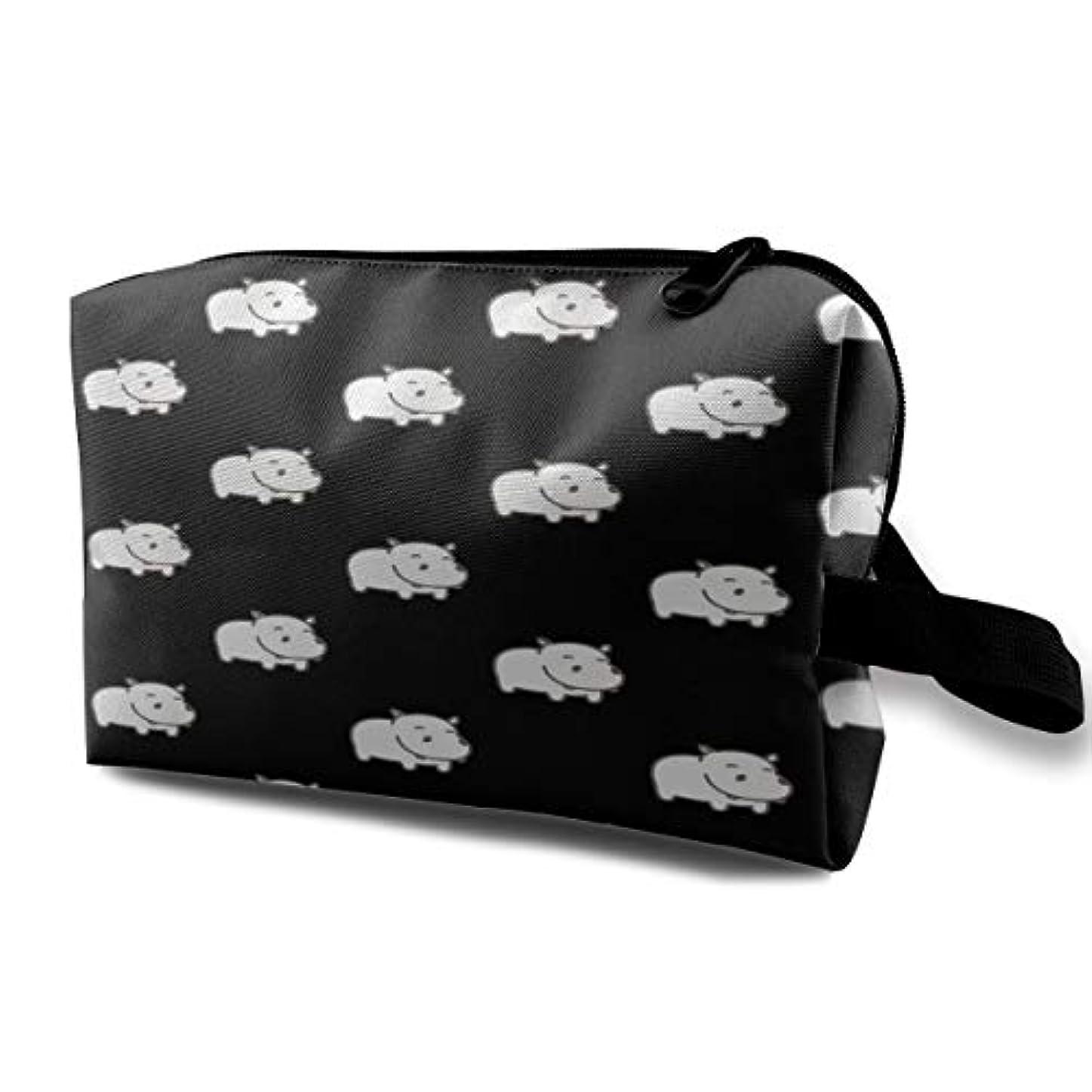 赤字効能ある異邦人Baby Hippo Pattern 収納ポーチ 化粧ポーチ 大容量 軽量 耐久性 ハンドル付持ち運び便利。入れ 自宅?出張?旅行?アウトドア撮影などに対応。メンズ レディース トラベルグッズ