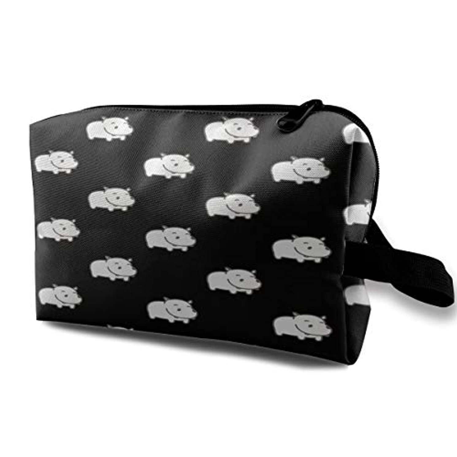 内なるスペースするだろうBaby Hippo Pattern 収納ポーチ 化粧ポーチ 大容量 軽量 耐久性 ハンドル付持ち運び便利。入れ 自宅?出張?旅行?アウトドア撮影などに対応。メンズ レディース トラベルグッズ