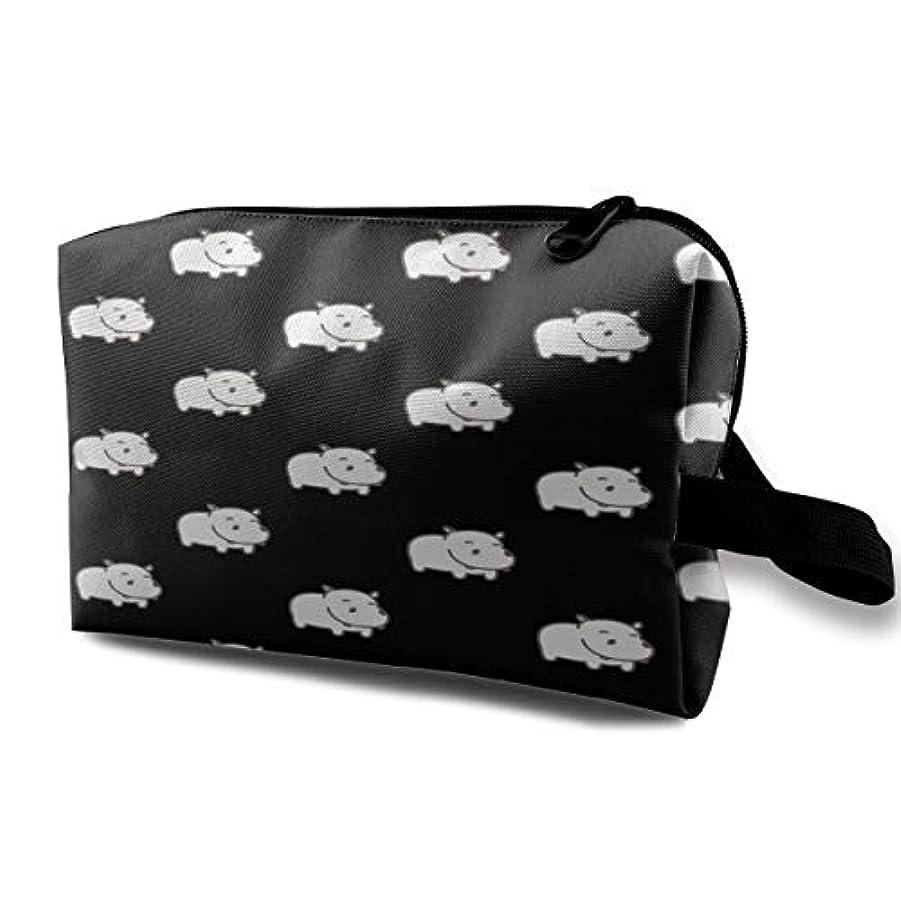 静かに鉛漂流Baby Hippo Pattern 収納ポーチ 化粧ポーチ 大容量 軽量 耐久性 ハンドル付持ち運び便利。入れ 自宅?出張?旅行?アウトドア撮影などに対応。メンズ レディース トラベルグッズ