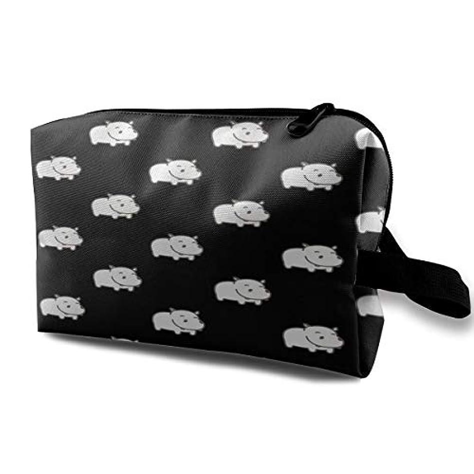 浜辺元の窓Baby Hippo Pattern 収納ポーチ 化粧ポーチ 大容量 軽量 耐久性 ハンドル付持ち運び便利。入れ 自宅?出張?旅行?アウトドア撮影などに対応。メンズ レディース トラベルグッズ