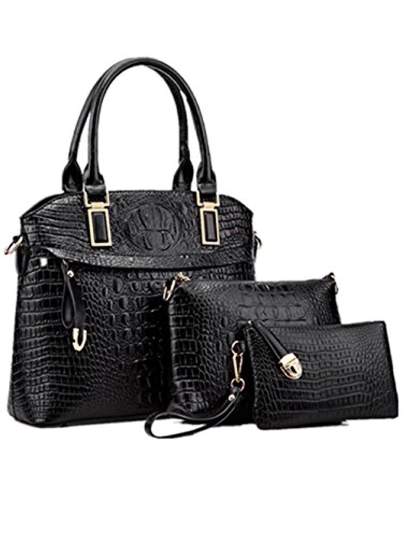 ウィッグの館 女性のハンドバッグのマザーバッグのトレンドクロコダイルパターンの肩の斜めのハンドバッグ新しいPUファッションバッグスリーピース