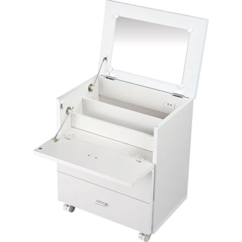 コンセント付き メイクボックス 鏡付き 鏡台 化粧箱 コスメボックス メイクボックス 収納 ボックス 化粧台