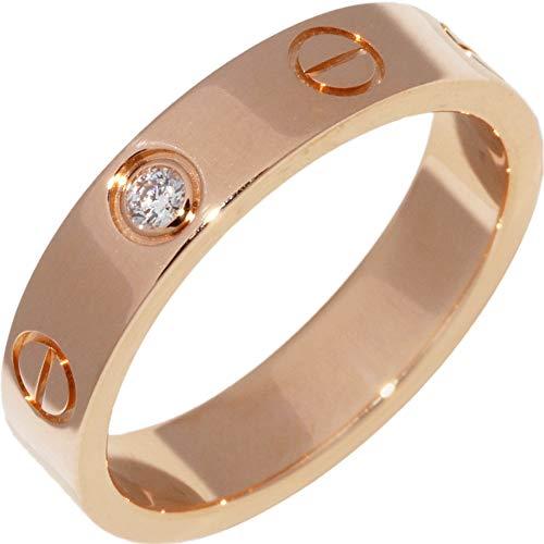 [カルティエ]Cartier K18PG ダイヤ1P(0.02ct) ミニラブリング(ラブウェディングリング) 指輪 #50(9.5号) B40507 中古