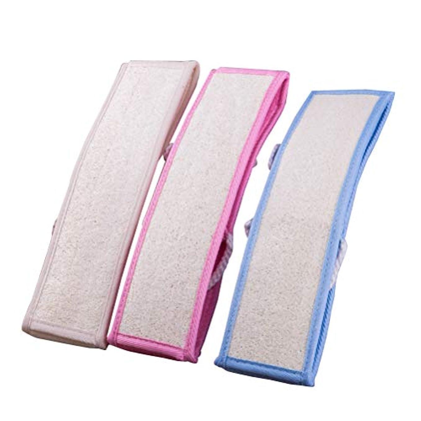 ルビーお父さんハーネスHealifty 3本のLoofahバックストラップ剥離バックスクラバーロングシャワーバスLoofah(青、ピンク、白各1個)