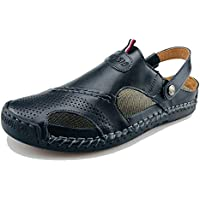 UPIShi Mens Closed Toe Casual Leather Strap Athletic Beach Outdoor Adjustable Sandals Fisherman Shoes