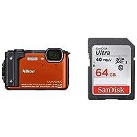 Nikon デジタルカメラ COOLPIX W300 OR クールピクス オレンジ 防水 + SanDisk エコパッケージ サンディスク ウルトラ SDXCカード 64GB Class10 UHS-I 読取り最大40MB/秒 SDSDUNH-064G-GHENN 10年保証