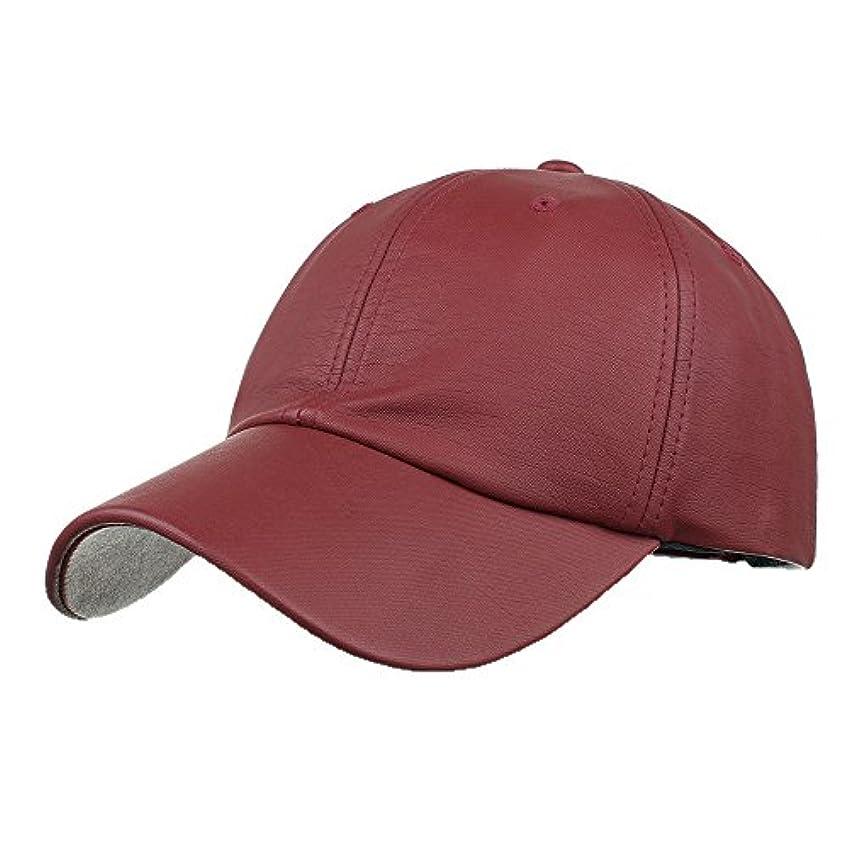 自明かすれた優雅なRacazing Cap PU 無地 ヒップホップ 野球帽 通気性のある 帽子 夏 登山 可調整可能 棒球帽 UV 帽子 軽量 屋外 Unisex Hat (ワイン)