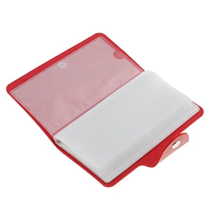 雑多な逆説さびたPerfeclan ネイルアートプレートスタンパーバッグ 24スロット ネイル プレート ホルダー ケース 5色選べ - 赤