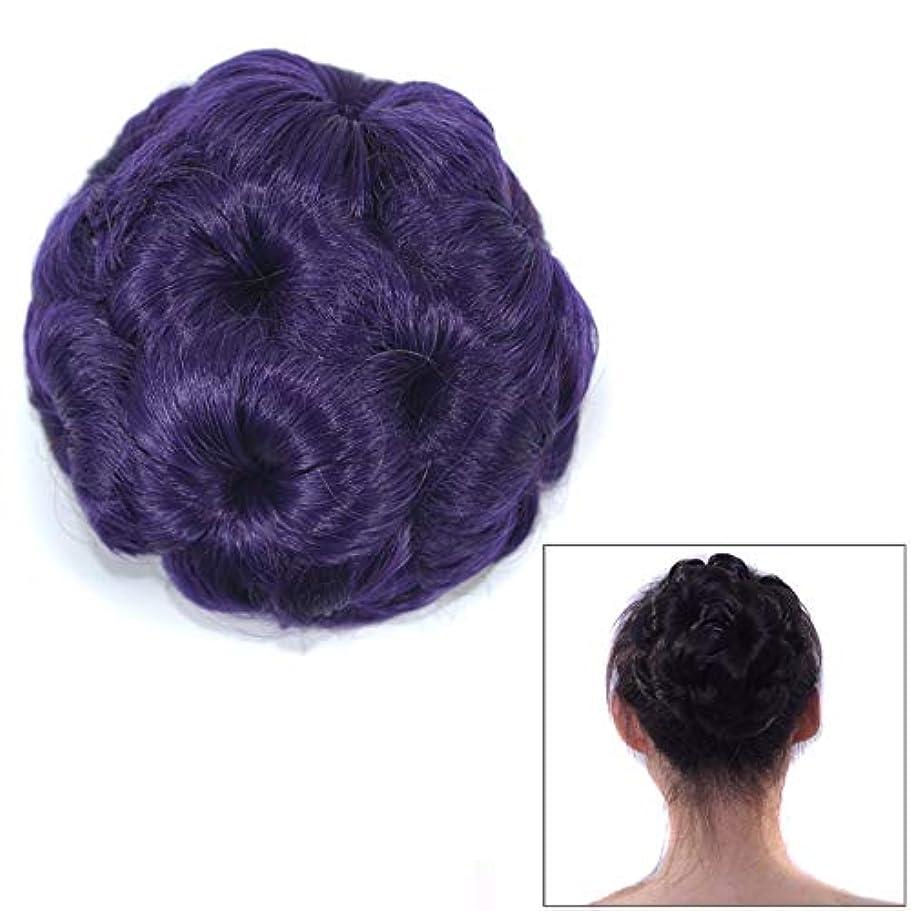 脇に法医学統治する美しさ 花嫁のためのかつらボールヘッド花のヘアピンのヘアバッグかつらヘッドバンド ヘア&シェービング (色 : 紫の)