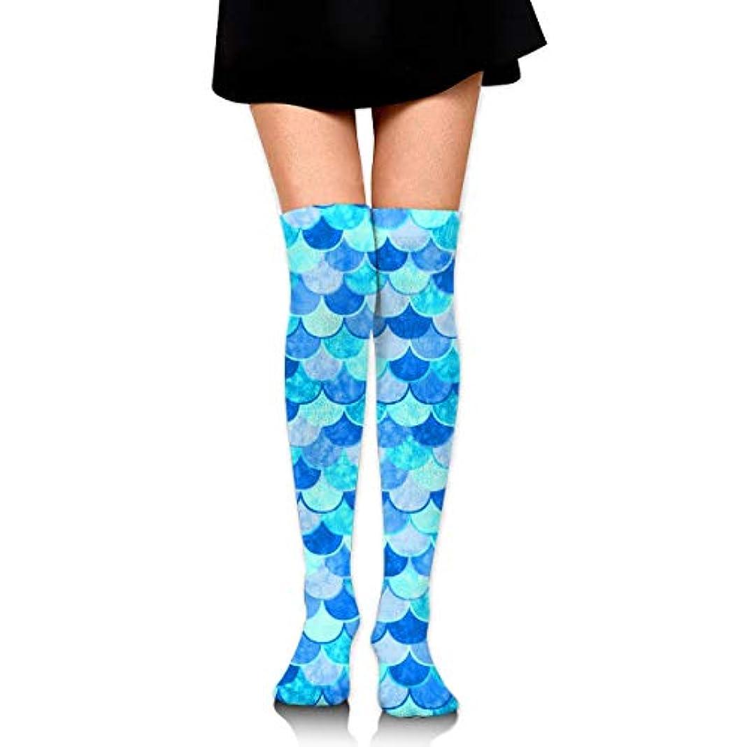 格納時代遅れ落胆したMKLOS 通気性 圧縮ソックス Breathable Classic Warmer Tube Leg Stockings Sky Blue Mermaid Fish Scale Exotic Psychedelic Print...