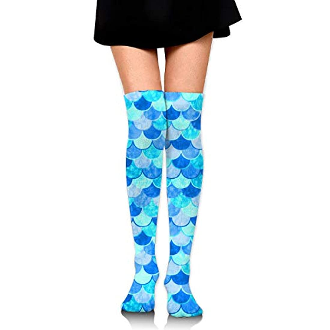 大きさ中性理想的にはMKLOS 通気性 圧縮ソックス Breathable Classic Warmer Tube Leg Stockings Sky Blue Mermaid Fish Scale Exotic Psychedelic Print...