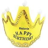 Halovin パーティー用帽子、Happy Birthdayハット、イエロー