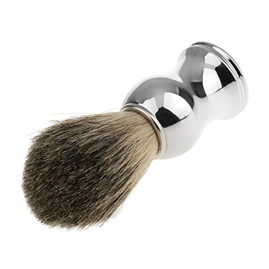 一月平方移植Perfk 人工毛 シェービングブラシ 柔らかい 理容  洗顔  髭剃り 便携 乾くやすい 11.2cm 全2色 - シルバーハンドル