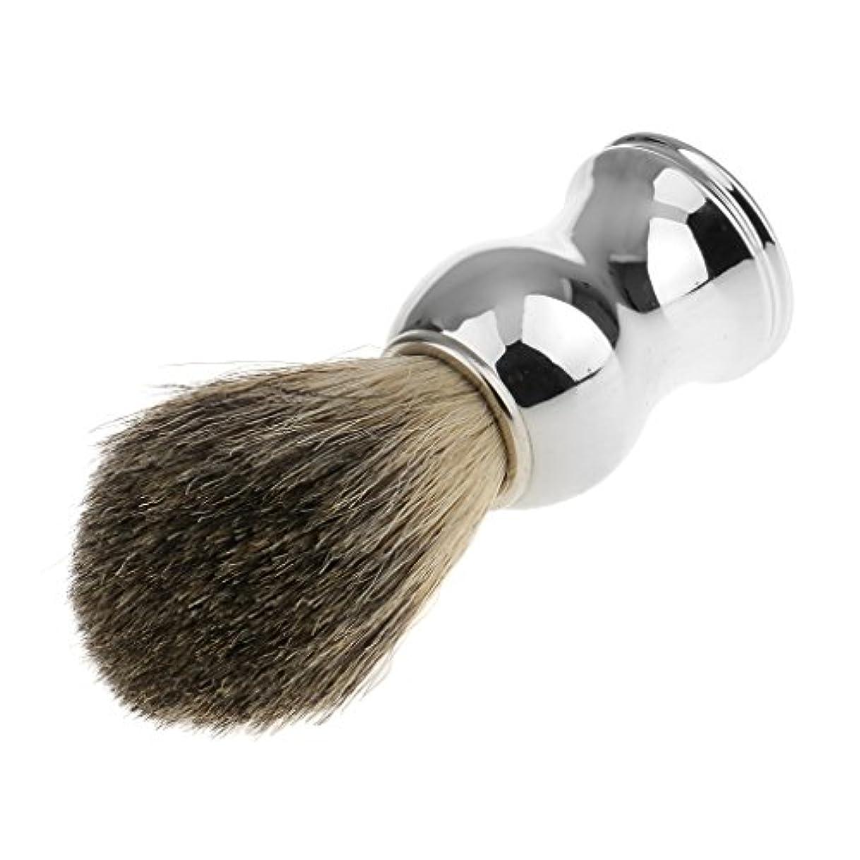 ネット例最小化するPerfk 人工毛 シェービングブラシ 柔らかい 理容  洗顔  髭剃り 便携 乾くやすい 11.2cm 全2色 - シルバーハンドル