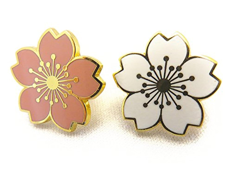 [ノーブランド] 小さな 桜 校章風 ピンバッジ 白+ピンク 446