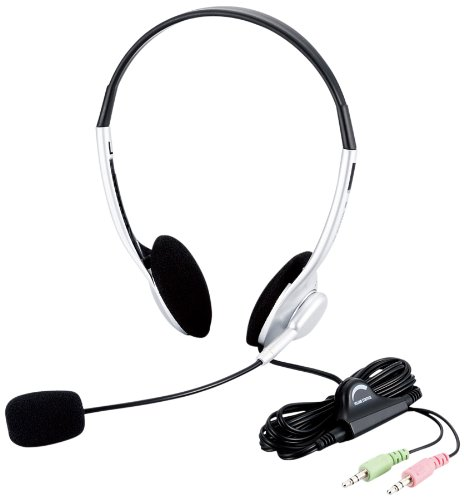 エレコム ヘッドセット マイク 両耳 オーバーヘッド 1.8m HS-HP10SV