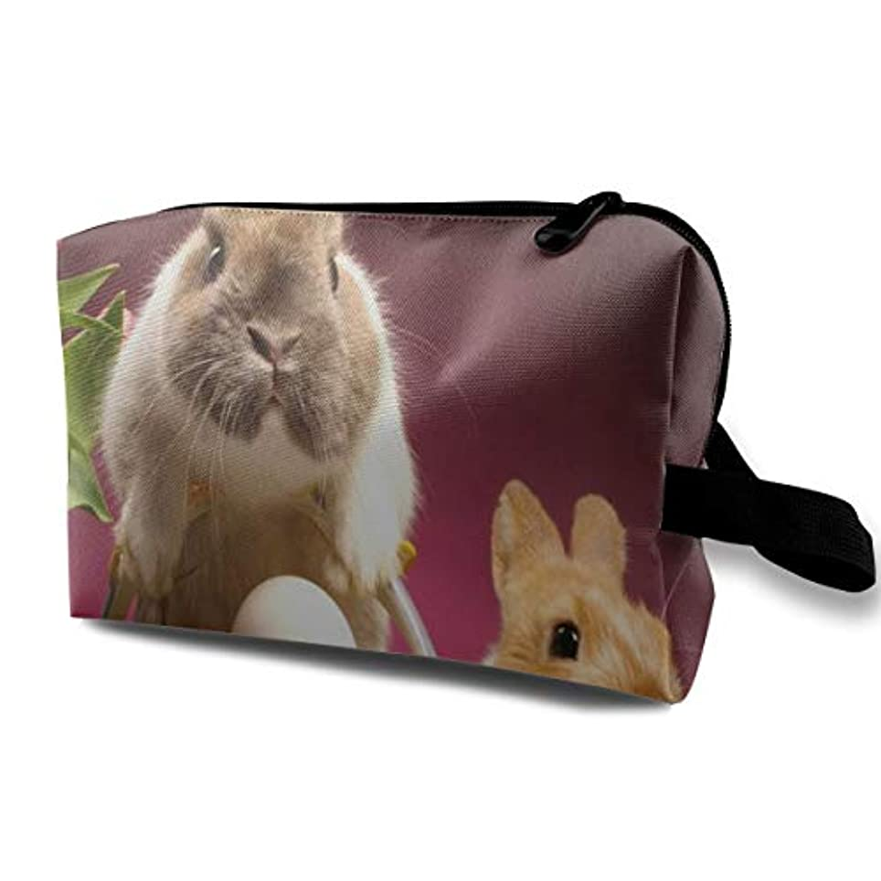 ホーム航空ズームEaster Bud Tulip Rabbit Eggs 収納ポーチ 化粧ポーチ 大容量 軽量 耐久性 ハンドル付持ち運び便利。入れ 自宅?出張?旅行?アウトドア撮影などに対応。メンズ レディース トラベルグッズ