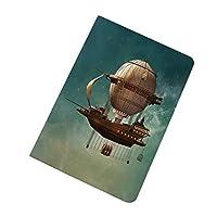 iPad Air2 ケース ファンタジーの装飾 スチームパンクな飛行船の妖精Sci Fiスターダストスペースイメージ 工場直売 超薄型 TPU ソフト オートスリープ/スリープ解除 スマートカバー キズ防止 指紋防止 ティールブラウンとシュールな空の風景