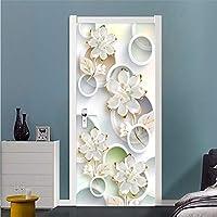 Xbwy 3D壁紙現代のファッションステレオサークル花写真壁画リビングルームの寝室のドアのステッカーPvc壁紙3D-400X280Cm